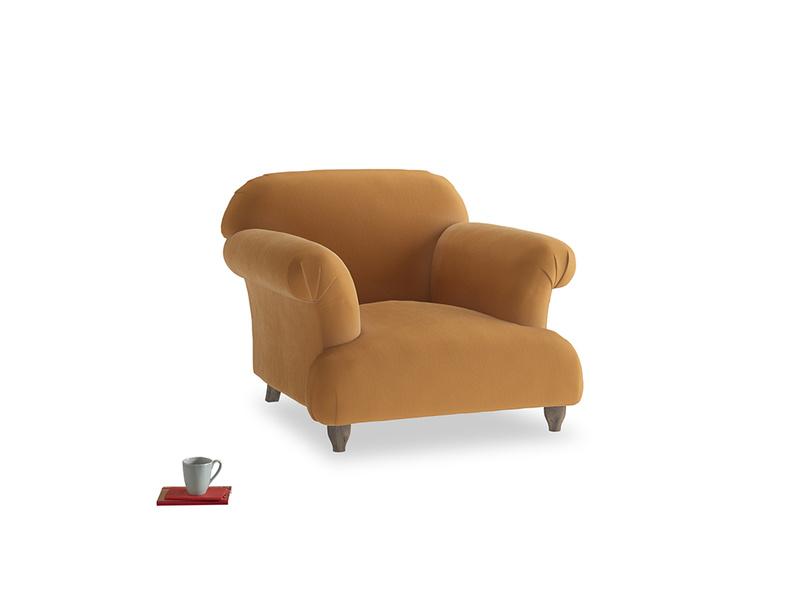 Soufflé Armchair in Caramel Plush Velvet