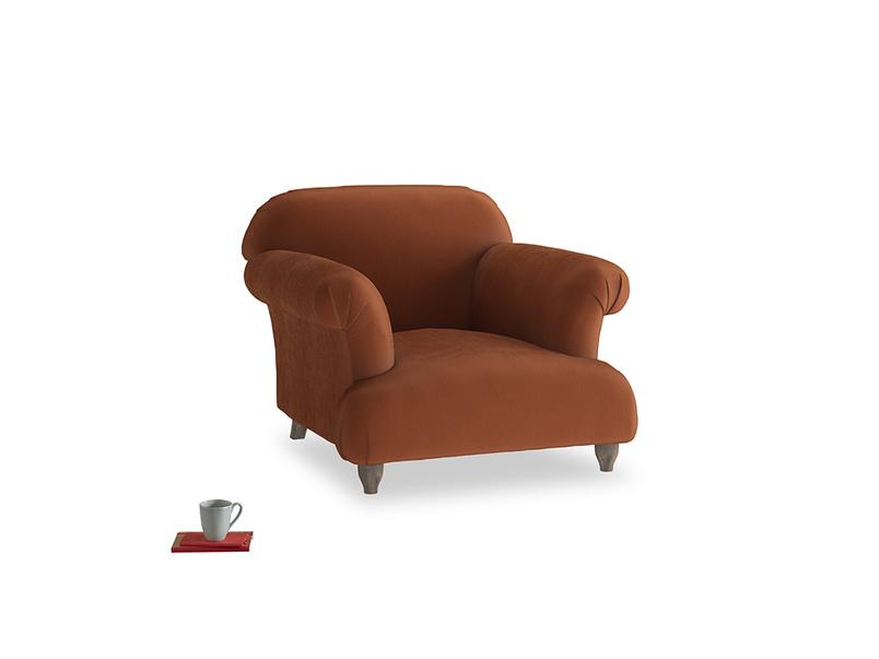 Soufflé Armchair in Praline Plush Velvet