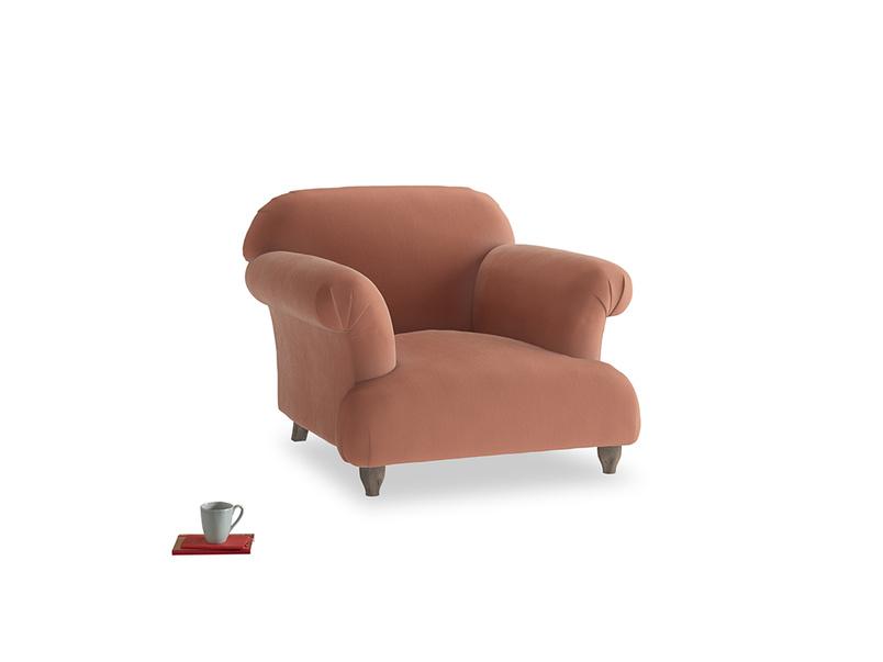 Soufflé Armchair in Pinky Peanut Plush Velvet