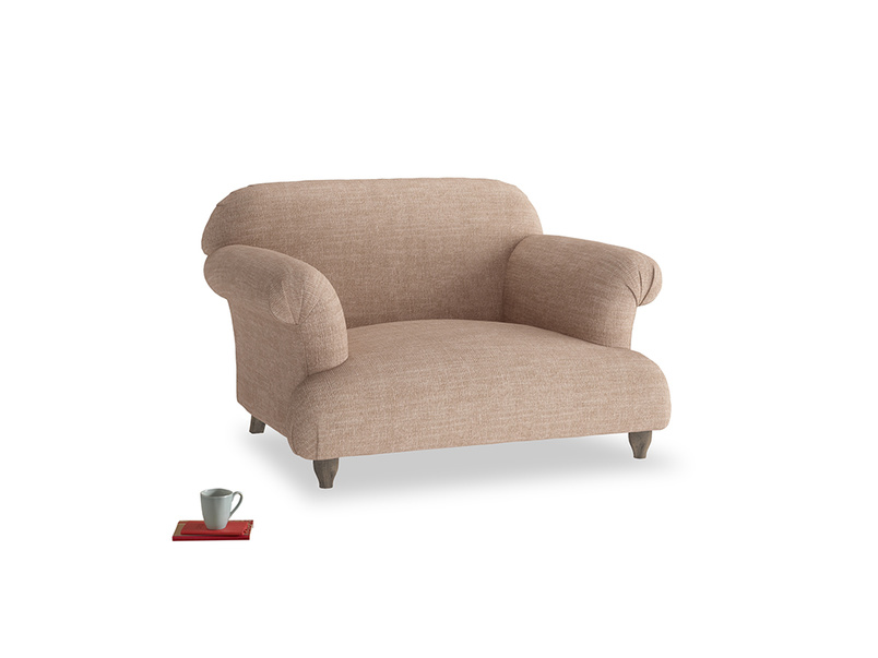 Soufflé Love seat in Old Plaster Clever Laundered Linen