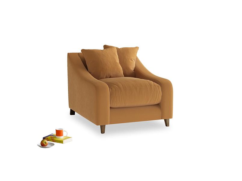 Oscar Armchair in Caramel Plush Velvet