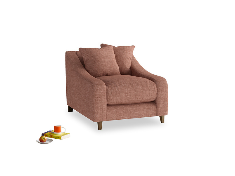 Oscar Armchair in Dried Rose Clever Laundered Linen