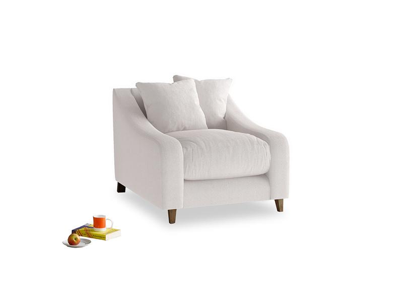 Oscar Armchair in Winter White Clever Velvet