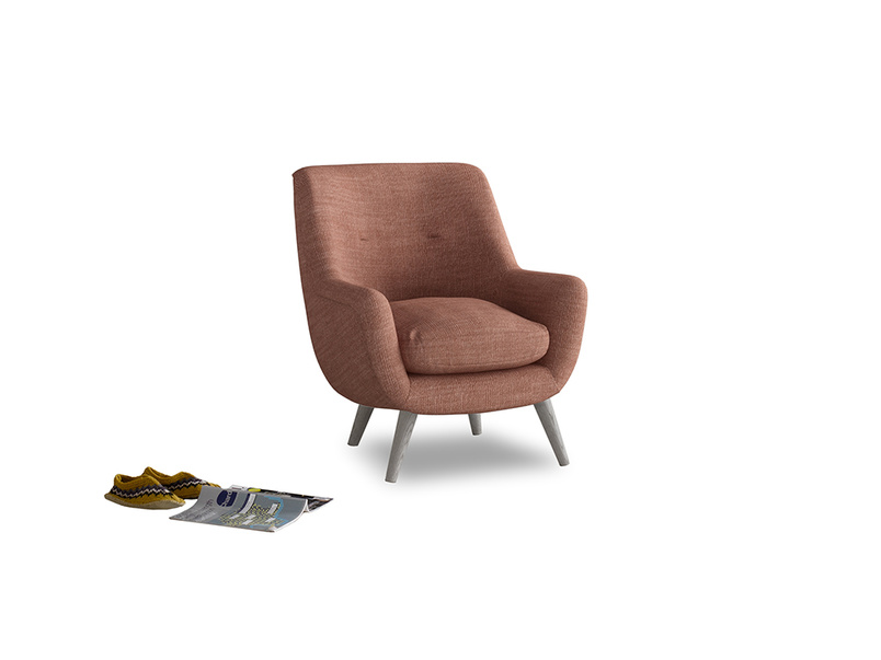 Berlin Armchair in Dried Rose Clever Laundered Linen