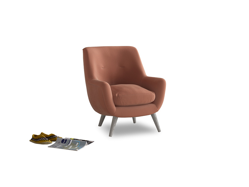 Berlin Armchair in Pinky Peanut Plush Velvet