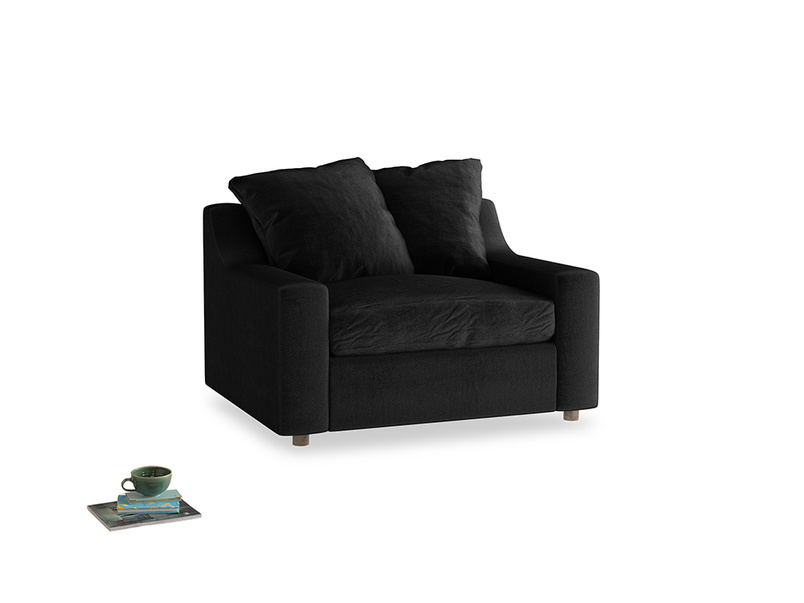 Cloud love seat sofa bed in Blackboard Vintage Velvet
