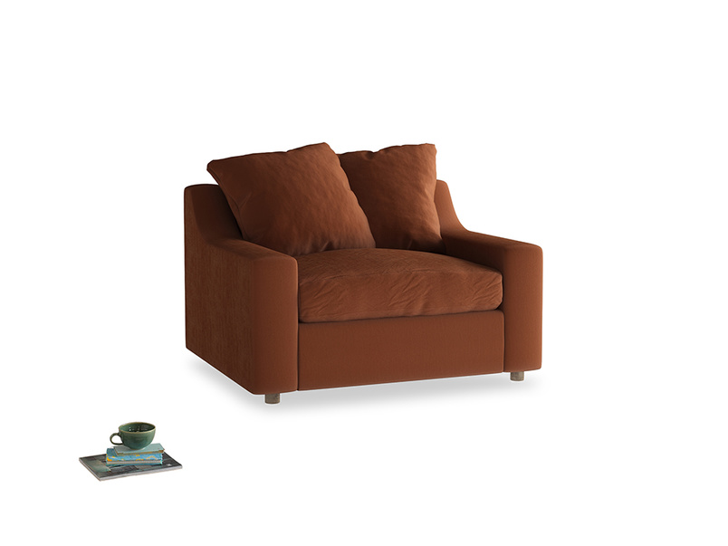 Cloud love seat sofa bed in Praline Plush Velvet