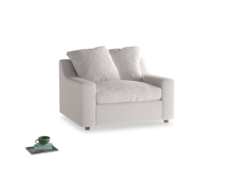 Cloud love seat sofa bed in Winter White Clever Velvet