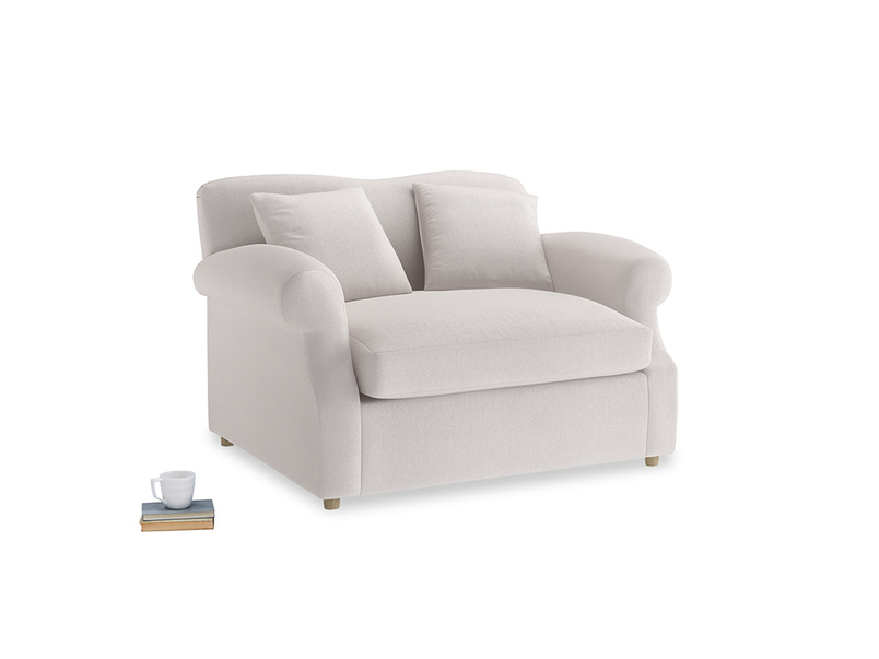 Crumpet Love Seat Sofa Bed in Winter White Clever Velvet