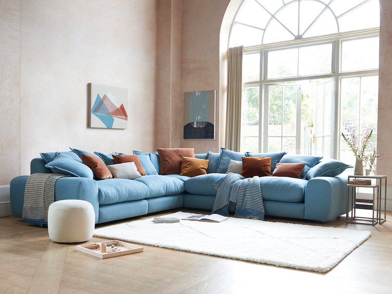 Wodge Modular Sofa in Soft Blue clever laundered linen