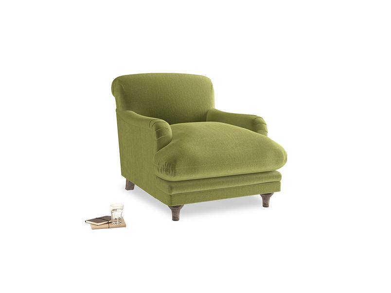 Pudding Armchair in Light Olive Plush Velvet