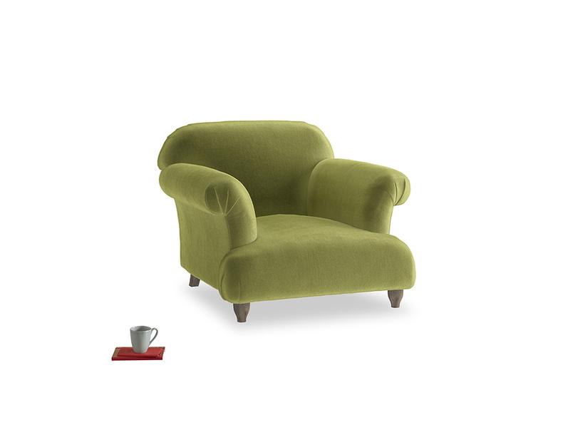 Soufflé Armchair in Light Olive Plush Velvet