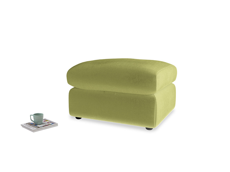 Chatnap Storage Footstool in Light Olive Plush Velvet