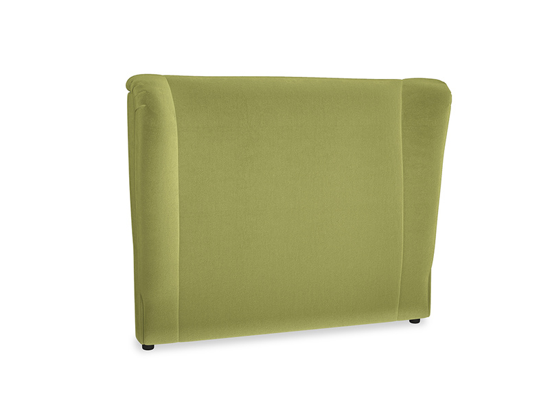 Double Hugger Headboard in Light Olive Plush Velvet