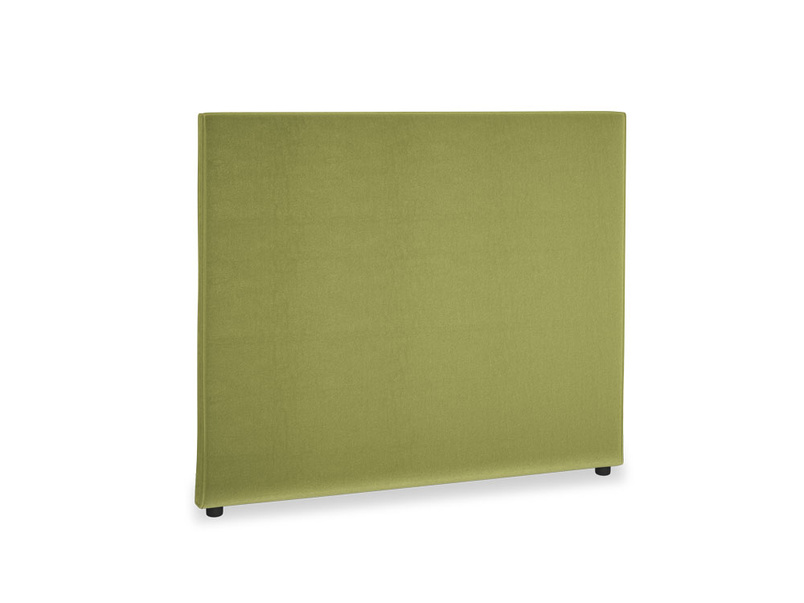 Double Piper Headboard in Light Olive Plush Velvet