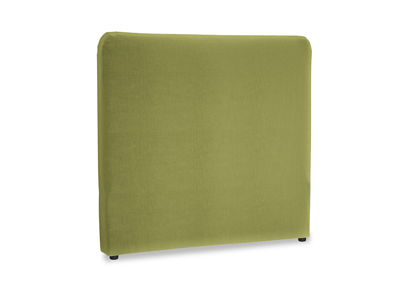 Double Ruffle Headboard in Light Olive Plush Velvet