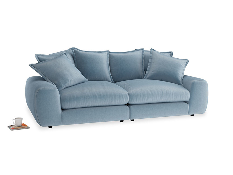 Medium Wodge Modular Sofa in Chalky blue vintage velvet