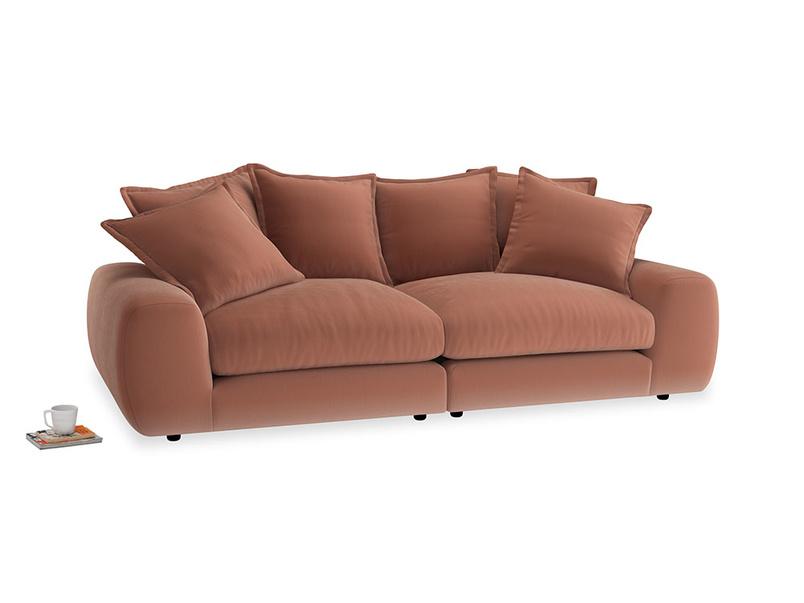 Medium Wodge Modular Sofa in Pinky Peanut Plush Velvet