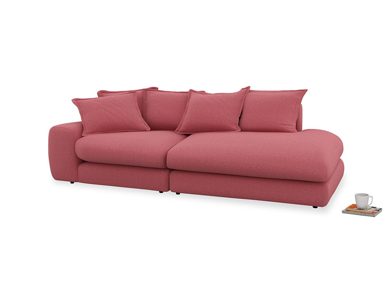 Left Hand Wodge Modular Chaise Longue in Raspberry brushed cotton
