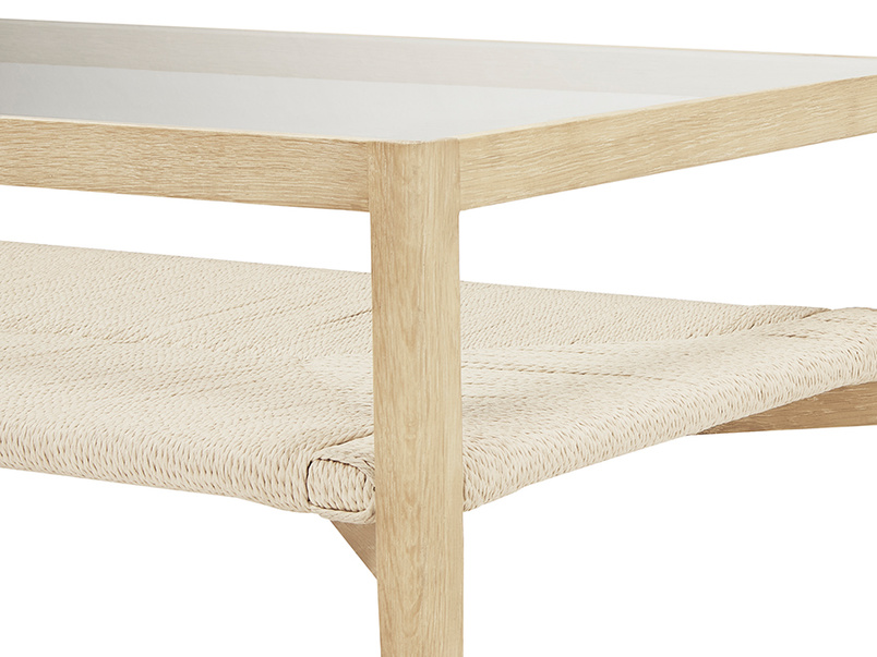 Keepsake wooden and rattan coffee table - shelf detail