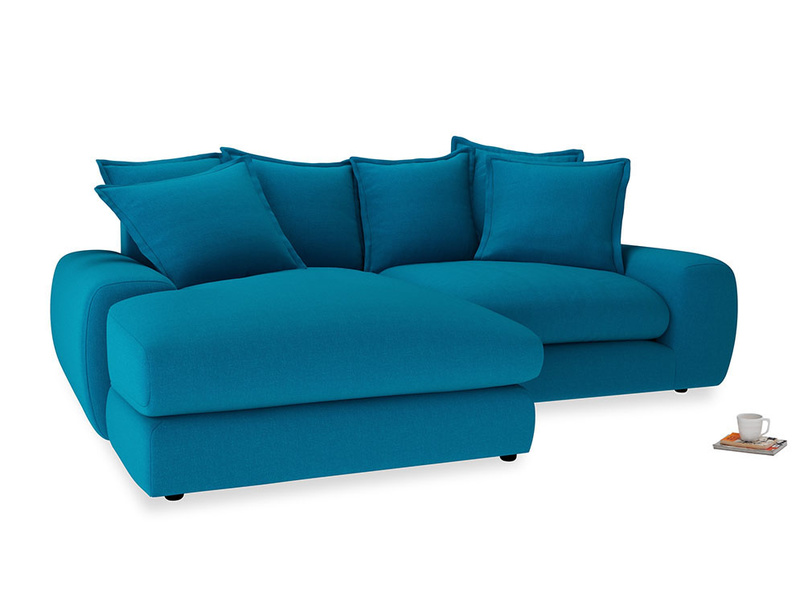 Medium Left Hand Wodge Modular Chaise Sofa in Bermuda Brushed Cotton