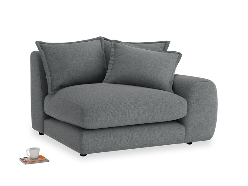 Wodge Single Seat in Cornish Grey Bamboo Softie with a right arm