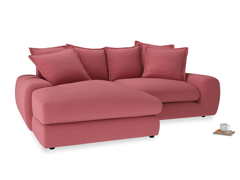 Medium Left Hand Wodge Modular Chaise Sofa in Raspberry brushed cotton