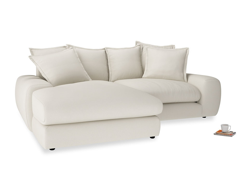 Medium Left Hand Wodge Modular Chaise Sofa in Chalky White Clever Softie