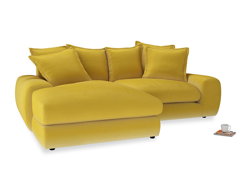 Medium Left Hand Wodge Modular Chaise Sofa in Bumblebee clever velvet