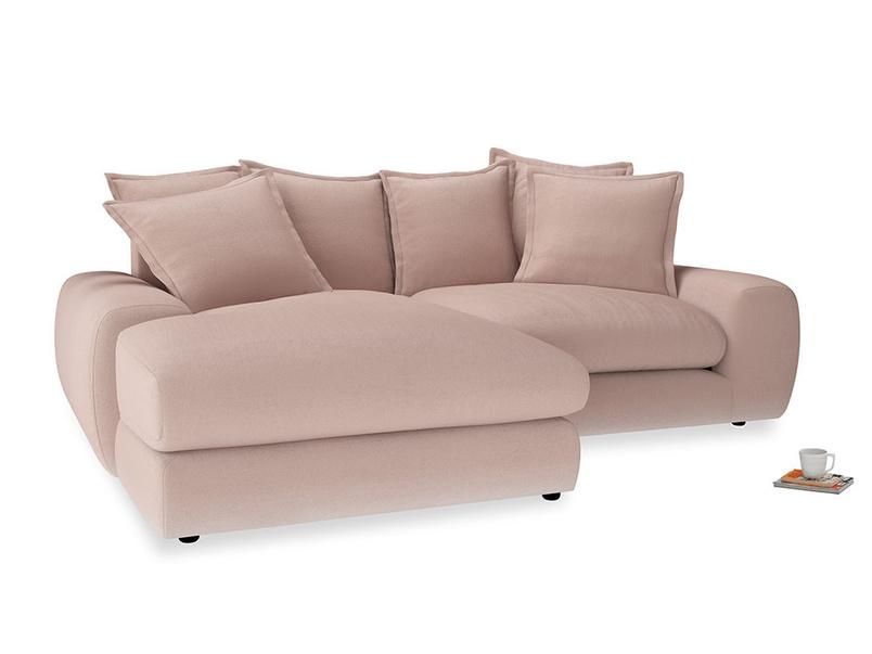 Medium Left Hand Wodge Modular Chaise Sofa in Dried Plaster Clever Velvet