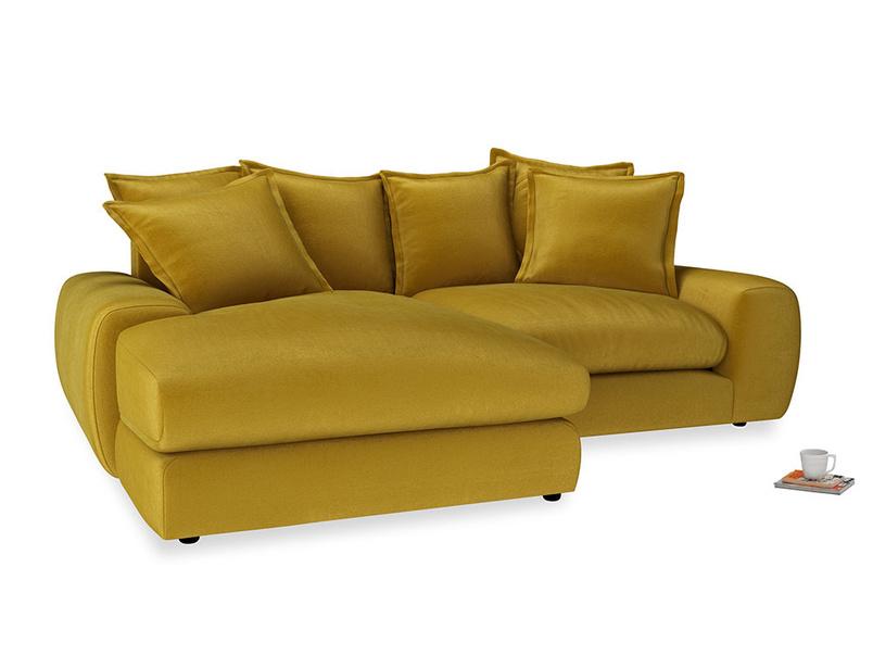 Medium Left Hand Wodge Modular Chaise Sofa in Burnt yellow vintage velvet