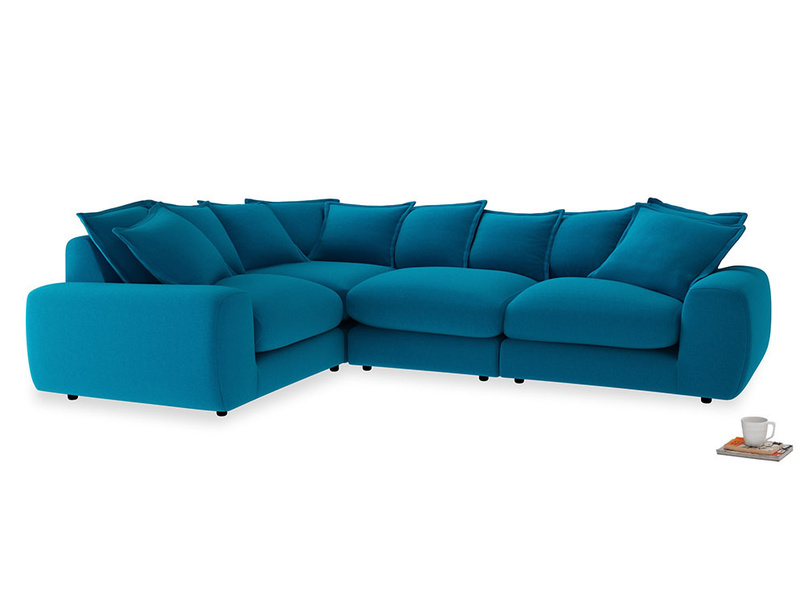 Large left hand Wodge Modular Corner Sofa in Bermuda Brushed Cotton