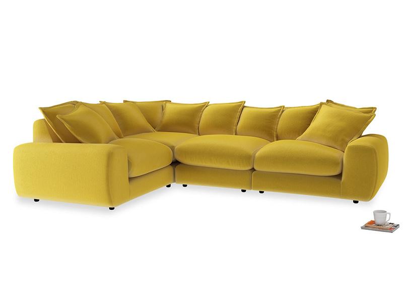Large left hand Wodge Modular Corner Sofa in Bumblebee clever velvet