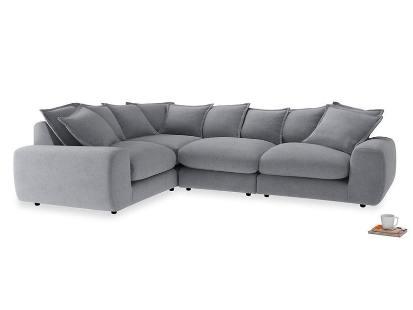 Large left hand Wodge Modular Corner Sofa in Dove grey wool