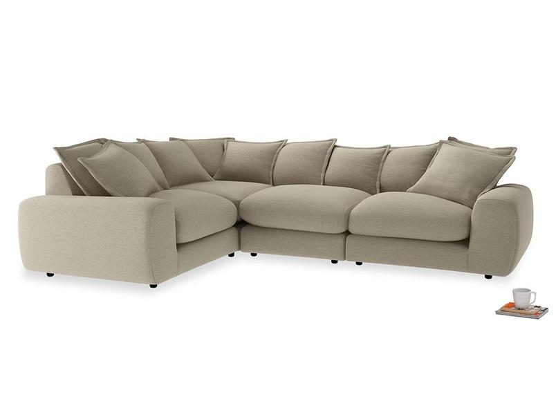Large left hand Wodge Modular Corner Sofa in Jute vintage linen
