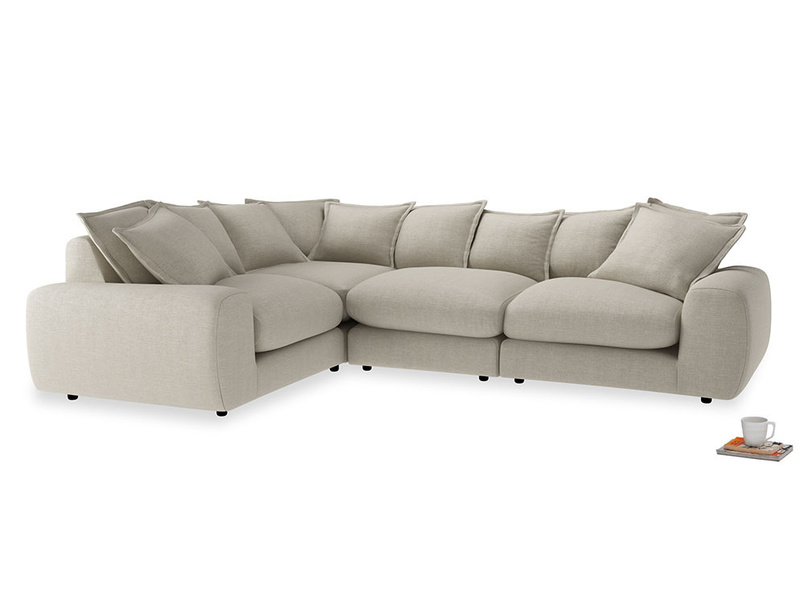 Large left hand Wodge Modular Corner Sofa in Thatch house fabric