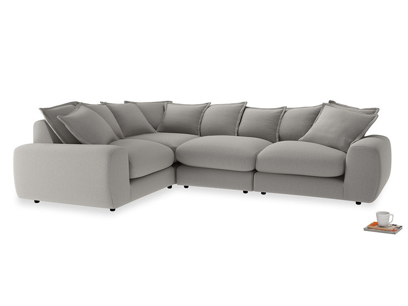 Large left hand Wodge Modular Corner Sofa in Wolf brushed cotton