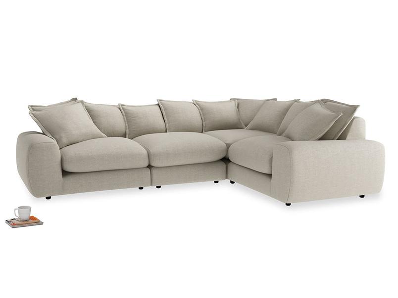 Large right hand Wodge Modular Corner Sofa in Thatch house fabric
