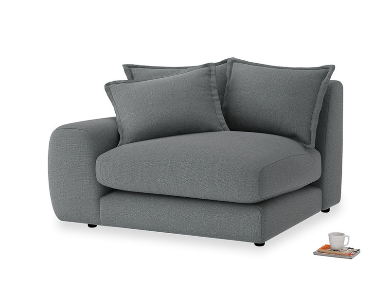 Wodge Single Seat in Cornish Grey Bamboo Softie with a left arm