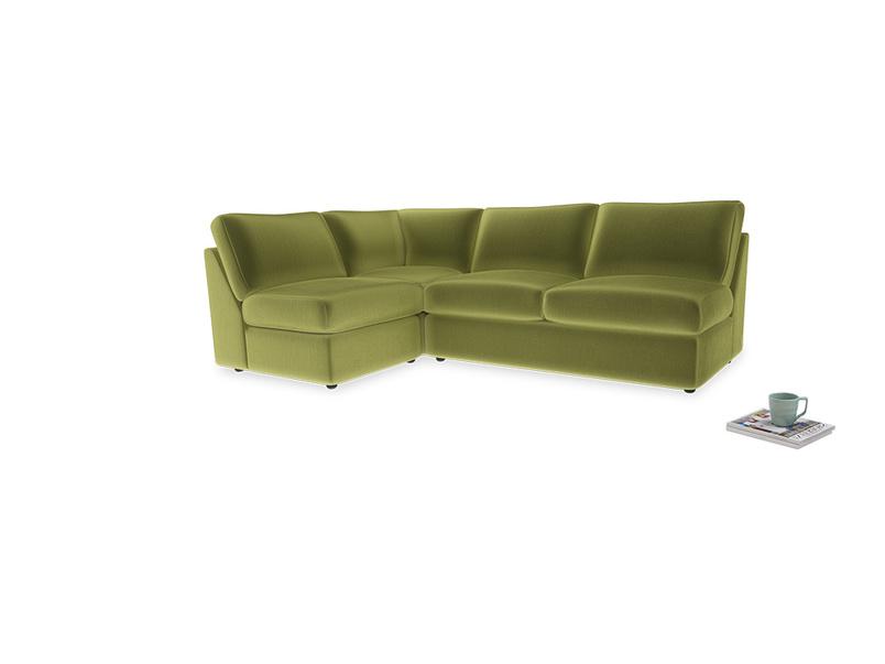 Large left hand Chatnap modular corner storage sofa in Light Olive Plush Velvet