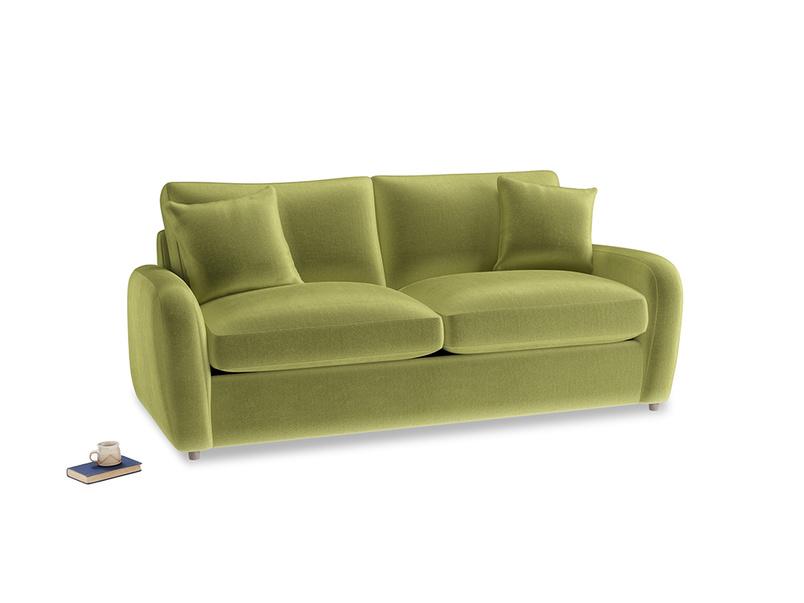 Medium Easy Squeeze Sofa Bed in Light Olive Plush Velvet