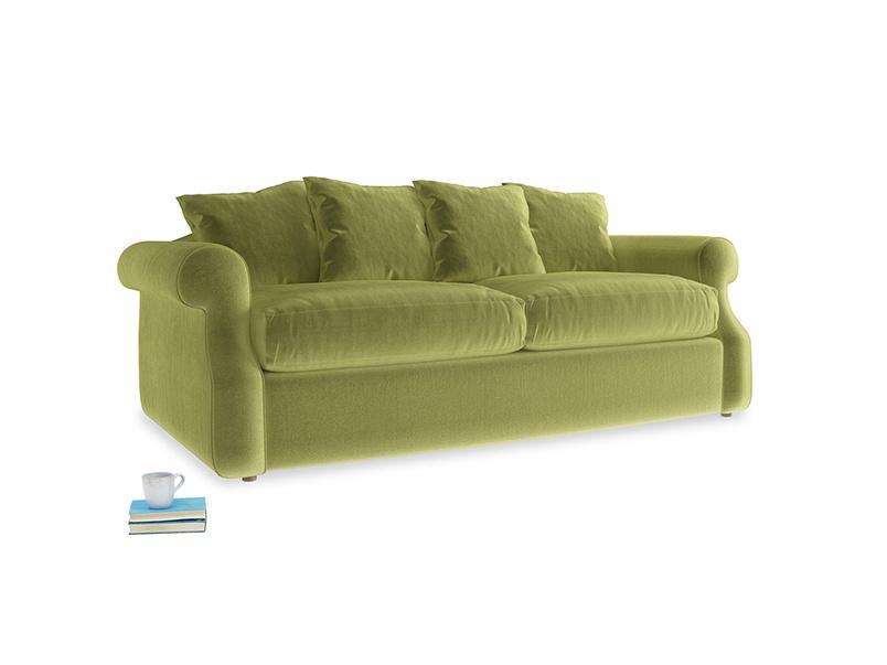 Small Sloucher Sofa in Light Olive Plush Velvet