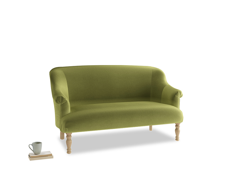 Small Sweetie Sofa in Light Olive Plush Velvet
