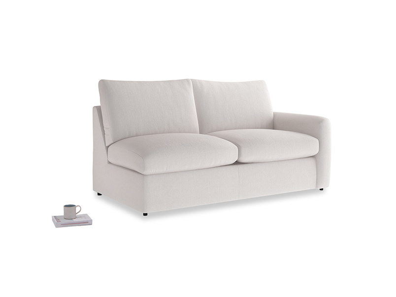 Chatnap Storage Sofa in Winter White Clever Velvet with a right arm