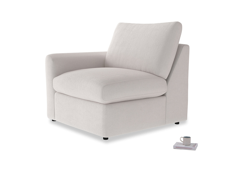 Chatnap Storage Single Seat in Winter White Clever Velvet with a left arm