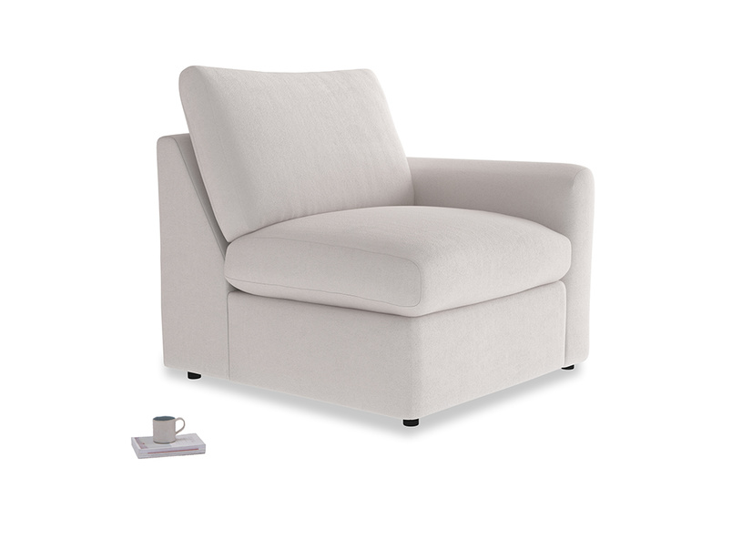 Chatnap Storage Single Seat in Winter White Clever Velvet with a right arm