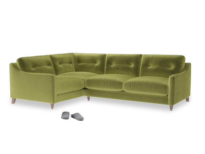 Large Left Hand Slim Jim Corner Sofa in Light Olive Plush Velvet