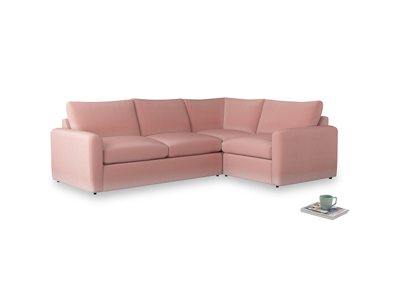 Large right hand Chatnap modular corner sofa bed in Vintage Pink Clever Velvet with both arms