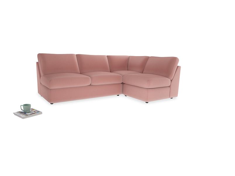 Large right hand Chatnap modular corner sofa bed in Vintage Pink Clever Velvet