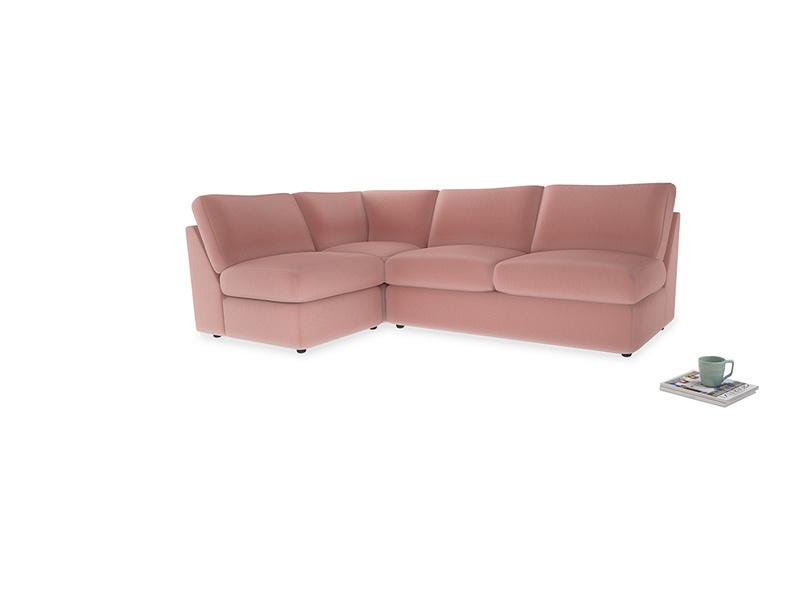 Large left hand Chatnap modular corner storage sofa in Vintage Pink Clever Velvet